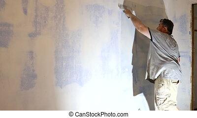 spatule, ouvrier, mur, travail, aligns