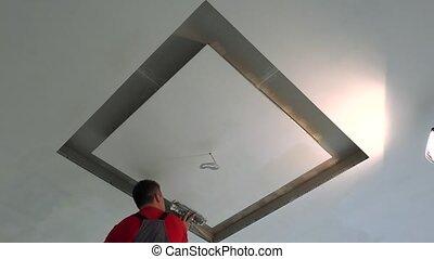 spatule, plafond, réparation, réparateur, filler