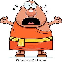 spaventato, buddista, cartone animato, monaco