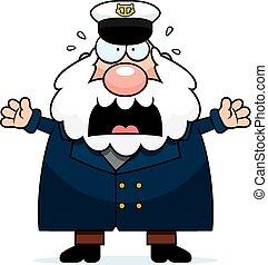 spaventato, capitano, cartone animato, mare