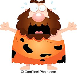 spaventato, cartone animato, caveman