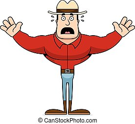 spaventato, cartone animato, cowboy