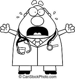 spaventato, cartone animato, dottore