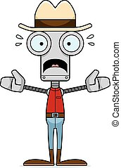 spaventato, cowboy, robot, cartone animato