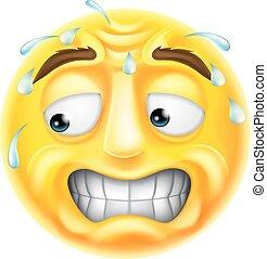 spaventato, emoticon, emoji