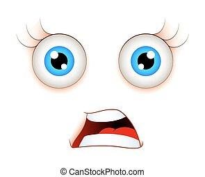 spaventato, espressione, faccia
