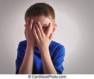 spaventato, piccolo bambino, occhi, mantello