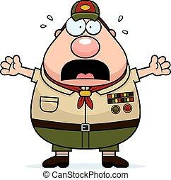 spaventato, scoutmaster, cartone animato