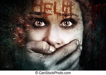 spaventato, vittima, abuso, fisico, donna