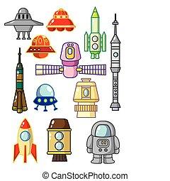 spazio, cartone animato, elemento