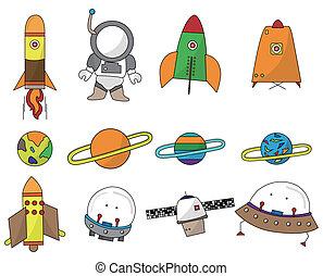 spazio, cartone animato, icona