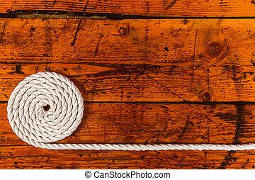 spazio copia, bianco, legno, textured, corda