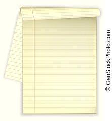 spazio copia, purposes., blocco note, giallo, foderare, aperto, pagina