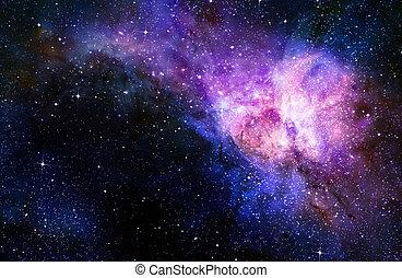 spazio esterno, stellato, profondo, nebual, galassia