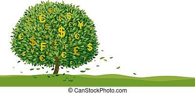 spazio illustrazione, disegno, albero, bianco, soldi, copia, vettore, fondo