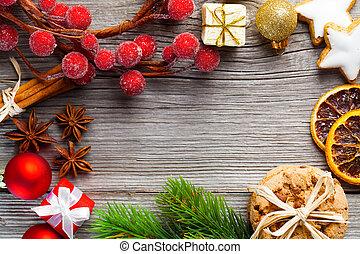 spazio, libero, decorazione, fondo, legno, lei, Natale