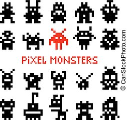spazio, mostri, pixel