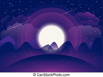 spazio, paesaggio, luna, e, montagne, vettore, fondo