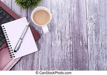 spazio, penna, aperto, copia, laptop, blocco note