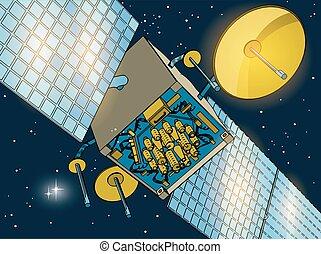 spazio, primo piano, satellite