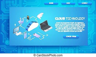 spazio, tecnologia, orizzontale, copia, bandiera, nuvola