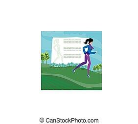 spazio, testo, astratto, jogging, ragazza, cornice