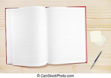 spazio, testo, blocco note, libero, penna, legno, vuoto, tavola