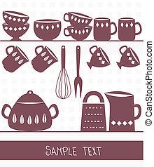 spazio, testo, coltelleria, illustrazione, utensili, cucina