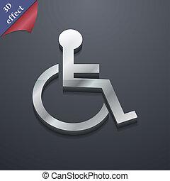 spazio, testo, moderno, simbolo., rastrized, invalido, trendy, disegno, 3d, style., tuo, icona