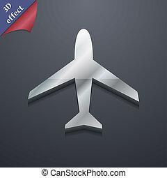 spazio, testo, moderno, simbolo., rastrized, trendy, disegno, aeroplano, 3d, style., tuo, icona