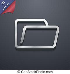 spazio, testo, moderno, simbolo., rastrized, trendy, disegno, cartella, 3d, style., tuo, icona