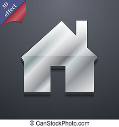 spazio, testo, moderno, simbolo., rastrized, trendy, disegno, casa, 3d, style., tuo, icona