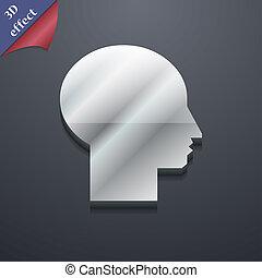 spazio, testo, moderno, simbolo., rastrized, trendy, disegno, utente, 3d, style., tuo, icona