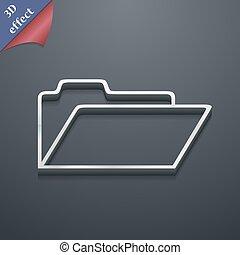 spazio, testo, moderno, simbolo., style., trendy, vettore, disegno, 3d, cartella, documento, tuo, icona