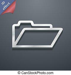 spazio, testo, moderno, simbolo., style., trendy, vettore, disegno, cartella, 3d, tuo, icona