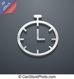 spazio, testo, moderno, simbolo., style., trendy, vettore, disegno, cronometro, 3d, tuo, icona