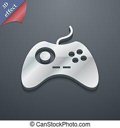 spazio, testo, moderno, simbolo., style., trendy, vettore, disegno, joystick, 3d, tuo, icona