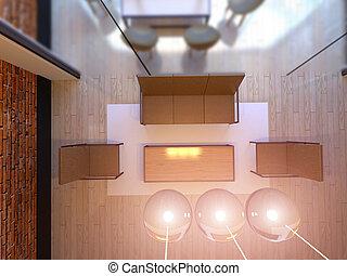 spazio ufficio, cima, interpretazione, vista., 3d