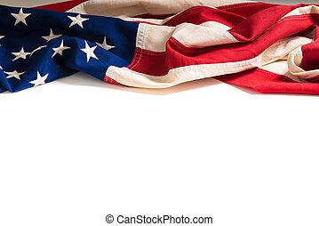 spazio, vendemmia, bandiera americana, bianco, copia