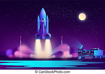 spazio, vettore, notte, navetta, cartone animato, lancio