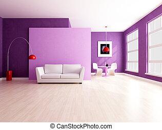 spazio, viola, minimalista, vivente, sala da pranzo