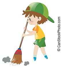 spazzatura, ragazzo, scopa, pavimento