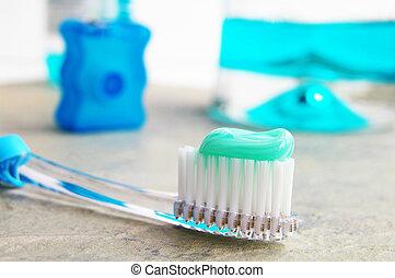 spazzola, dente, filo seta, collutorio