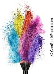 spazzola trucco, con, colorare, polvere, isolato