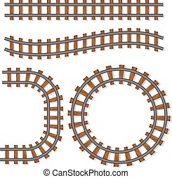 spazzola, vettore, piste, ferrovia, passeggero, o, elementi, rotaia, isolato, linea, sfondo bianco, treno, ferrovia