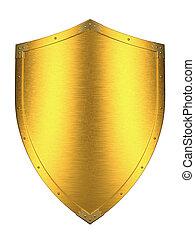 spazzolato, scudo, oro