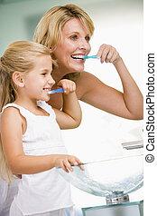 spazzolatura, bagno, donna, giovane, denti, ragazza