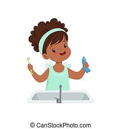 spazzolatura, carino, bagno, presa a terra, lei, spazzolino, illustrazione, dente, vettore, fondo, denti, ragazza, pasta, bianco, capretto