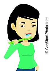 spazzolatura, donna, illustration., lei, vettore, denti