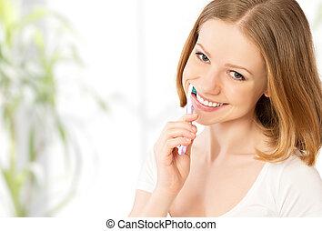spazzolatura, donna, lei, spazzolino, denti, felice